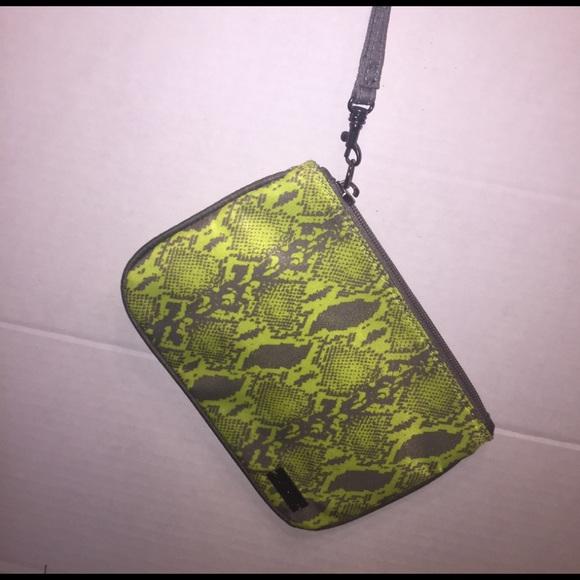 Express Handbags - Neon green snakeskin print wristlet by Express